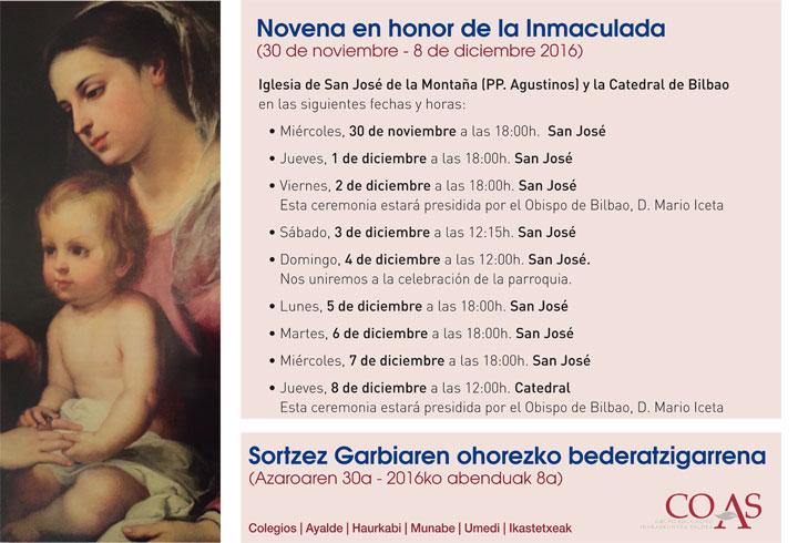 Te invitamos a participar en la Novena de la Inmaculada